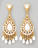 Jose & Maria Barrera Beaded Chandelier Clip Earrings, White