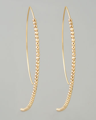 Beaded Marquise Hook-Hoop Earrings