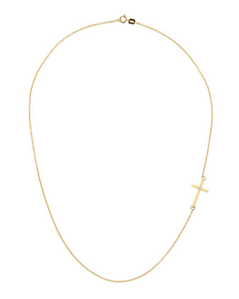 14k Cross Necklace with Single Diamond