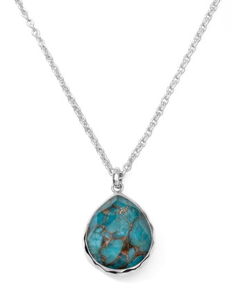 Wonderland Silver Mini Bronze Turquoise Teardrop Necklace