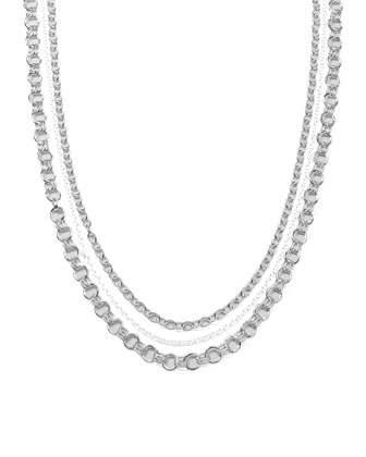 Sterling Silver Three-Strand Necklace, 37