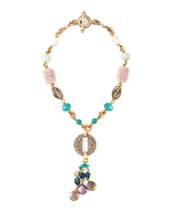 Pearl & Mixed-Stone Y-Drop Necklace, Purple