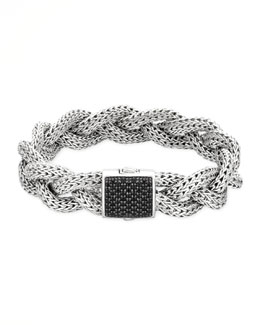 John Hardy Classic Chain Medium Braided Silver Bracelet, Black Sapphire