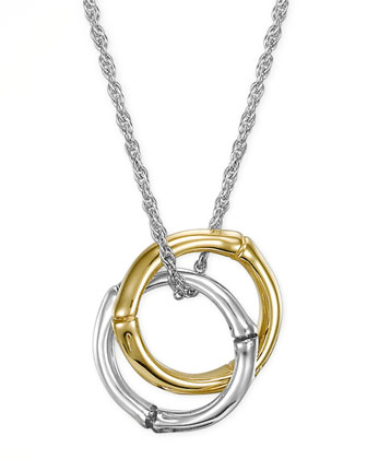 Bamboo Gold & Silver Small Round Pendant Necklace