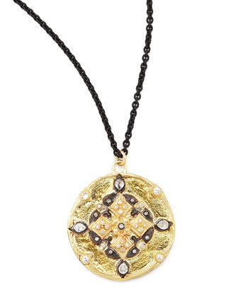 Midnight Gold Diamond Shield Pendant Necklace, 30