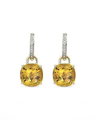 Eternal 18k Gold Citrine Diamond Earrings