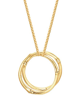 John Hardy Bamboo 18k Gold Large Round Interlocking Pendant Necklace