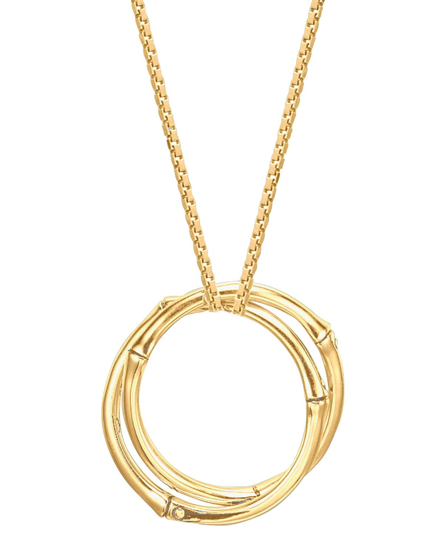 Bamboo 18k Gold Large Round Interlocking Pendant Necklace