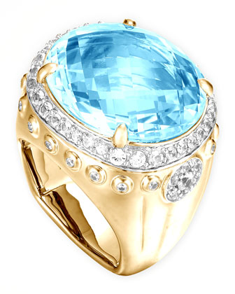 Batu Bamboo 18k Blue Topaz Oval Ring