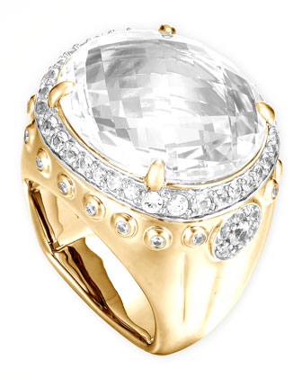 Batu Bamboo 18k White Topaz Oval Ring