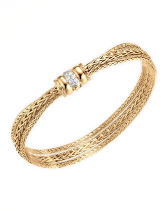 18k Gold Bedeg Diamond-Clasp Bracelet