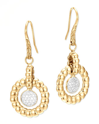 18k Bedeg Gold Diamond Drop Earrings