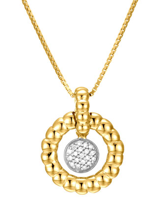 18k Bedeg Pave Diamond Circle Pendant Necklace