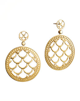 John Hardy Naga 18k Gold Post Drop Earrings