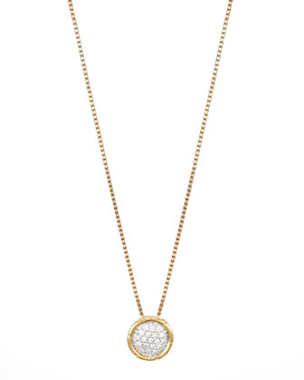 Bamboo 18k Gold Pave Diamond Small Round Pendant Necklace