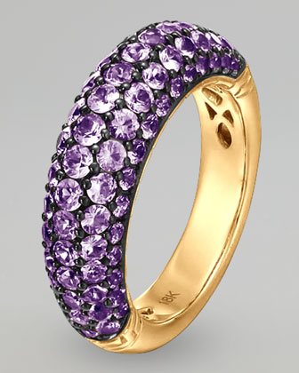 18k Gold Classic Chain Violet Sapphire Slim Dome Ring
