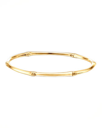 Bamboo 18k Gold Slim Bangle Bracelet