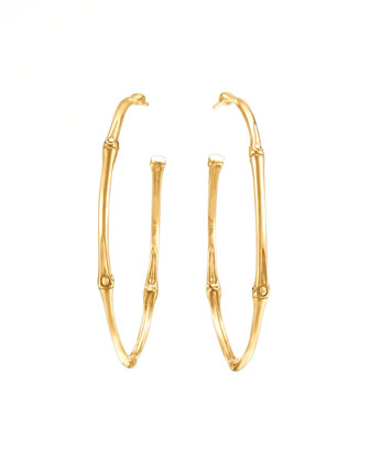 Bamboo 18k Gold Large Hoop Earrings