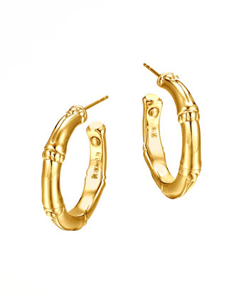 Bamboo 18k Gold Small Hoop Earrings