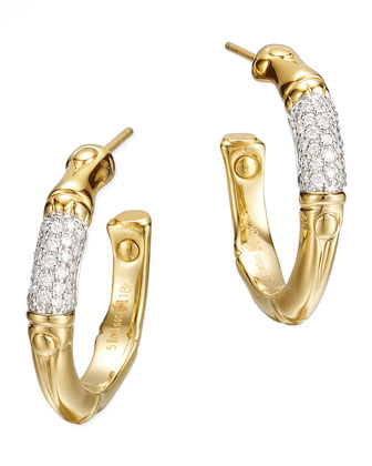 Bamboo 18k Gold Pave Diamond Small Hoop Earrings