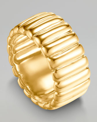 Bedeg 18k Gold Wide Band Ring, Size 7