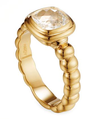 Batu Bedeg 18k Gold White Topaz Ring, Size 7