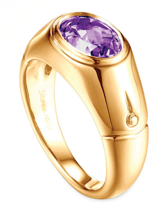 Batu Bamboo 18k Gold Amethyst Signet Ring, Size 7