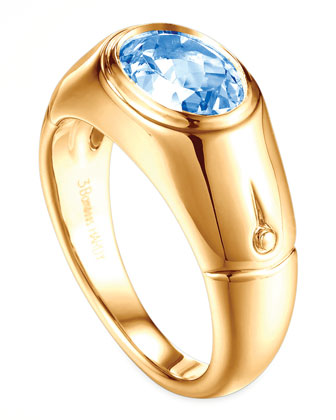 Batu Bamboo 18k Gold Swiss Blue Signet Ring, Size 7