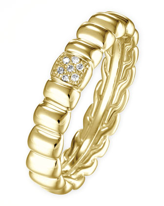 18k Gold Bedeg Diamond-Pave Slim Band Ring