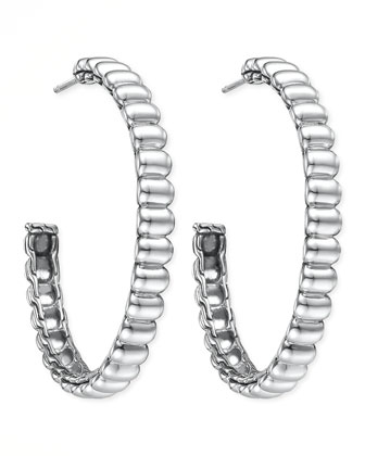 Bedeg Silver Large Hoop Earrings