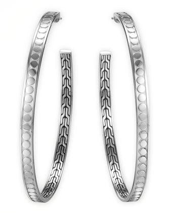 Dot Silver Large Hoop Earrings