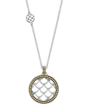 Naga Gold & Silver Round Drop Pendant Necklace