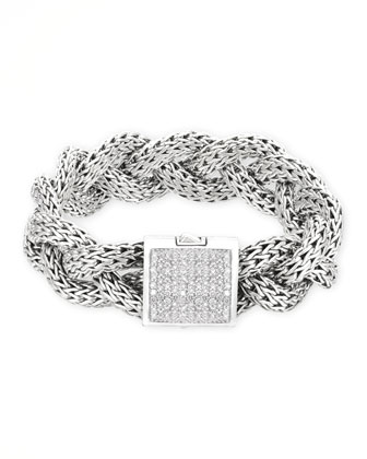 Classic Chain Silver Pave Diamond Large Braided Bracelet