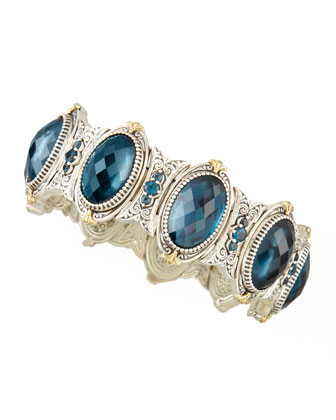 Thalassa Oval London Blue Topaz Station Bracelet