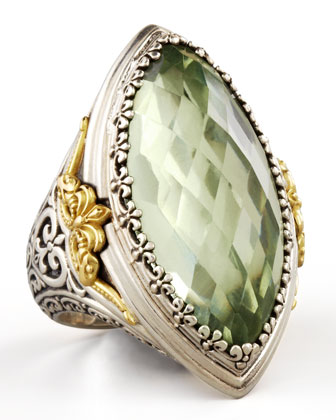 Astritis Large Faceted Green Amethyst Ring