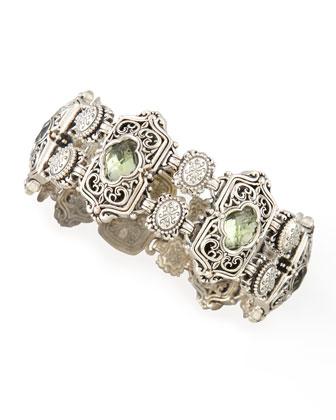 Astritis Faceted Green Amethyst Clover Bracelet