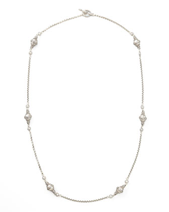Classic Sterling Silver Station Necklace, 36