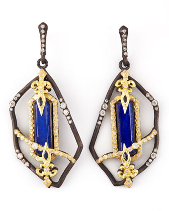 Fleur de Lis Emerald-Cut Lapis Earrings