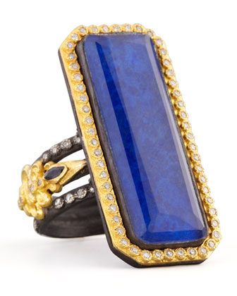 Emerald-Cut Lapis Ring