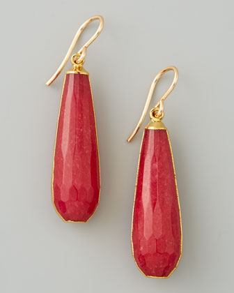 Red Jade Teardrop Earrings