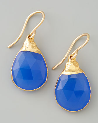 24k Wrapped Periwinkle Chalcedony Drop Earrings