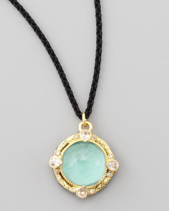 Old World Green Turquoise Pendant Necklace, 12mm