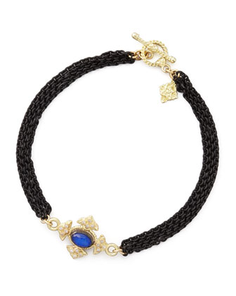Midnight Lapis Maltese Cross Bracelet