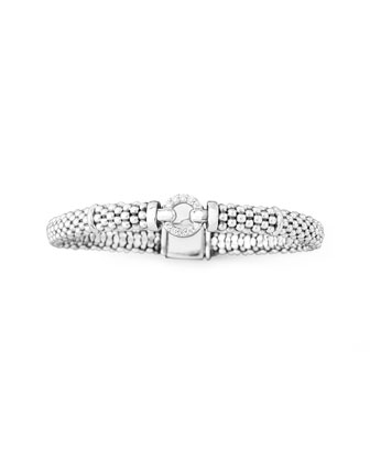Pave Diamond Caviar Rope Bracelet, 6mm