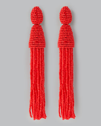 Beaded Long Tassel Earrings, Cinnabar