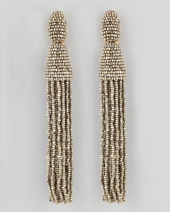 Beaded Long Tassel Earrings, Champagne
