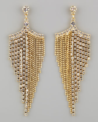 Golden Rhinestone Chandelier Earrings