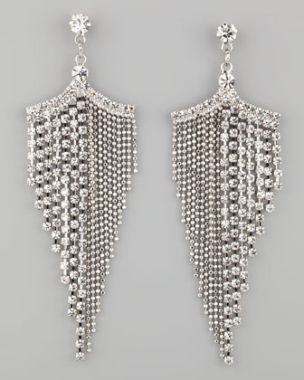 Silvertone Rhinestone Chandelier Earrings