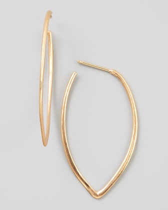 18k Rose Gold Large Retro Dagger Hoop Earrings