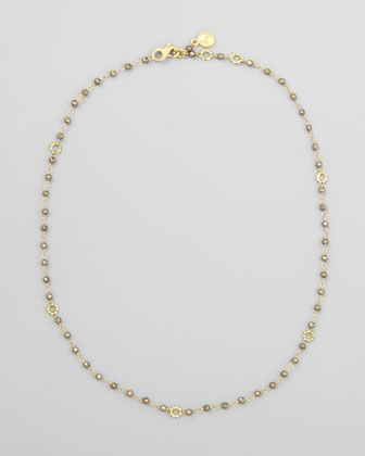 18k Gold Dark Pyrite Delicate Bead Necklace
